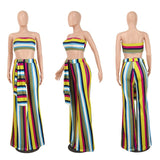 Clubwear Print Striped Two Piece Set Women 2018 Fashion Strapless Tops and Wide Leg Pants Suit Conjunto Feminino Party Jumpsuits - VRAIDJO