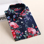 2018 Floral Women Blouses Long Sleeve Shirt Cotton - VRAIDJO