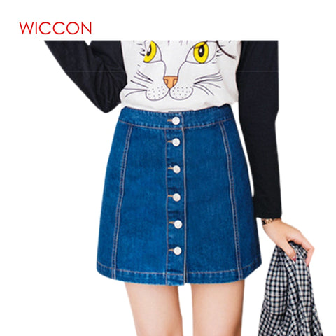 Womens Vintage A-line Jeans Skirt