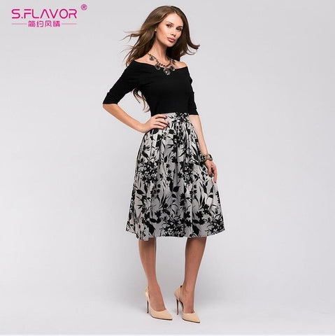 S.FLAVOR Summer autumn Floral Print Patchwork Dress - VRAIDJO
