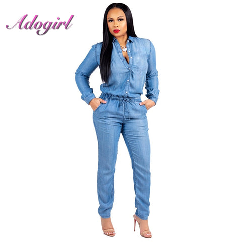 Denim Jumpsuit col à manches longues simple boutonnage