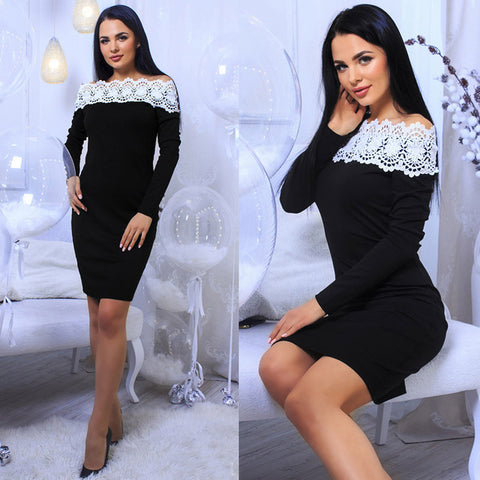 Robe a epaule Denudee a manches longues sexy - VRAIDJO