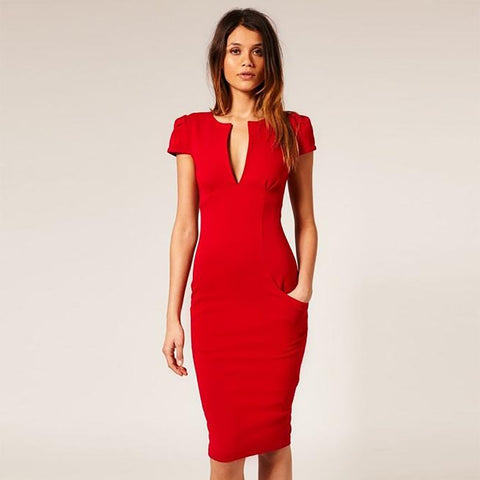 Elegant Autumn Knee-Length Dress - VRAIDJO