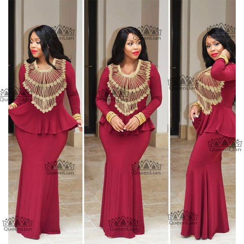 robe longue afro a manches longues