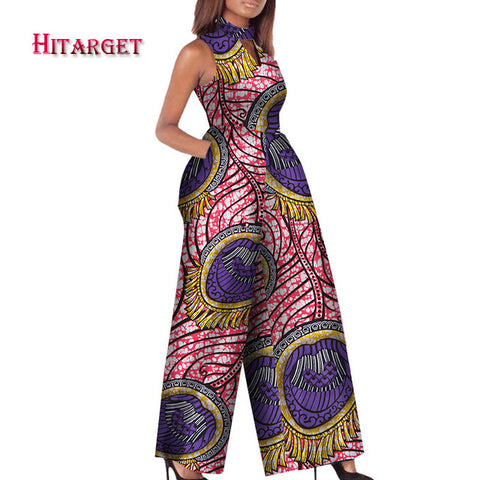 2019 African Print Women Jumpsuit O-Neck Sleeveless Autumn Sexy Romper Wide Leg Pants African Ladies Jumpsuits Rompers WY2244 - VRAIDJO