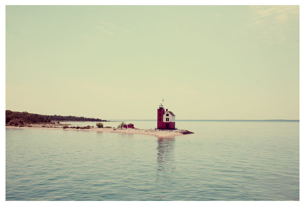 The beautiful Round Island Lighthouse graces the Straits of Mackinac. Photographed by Alicia Bock