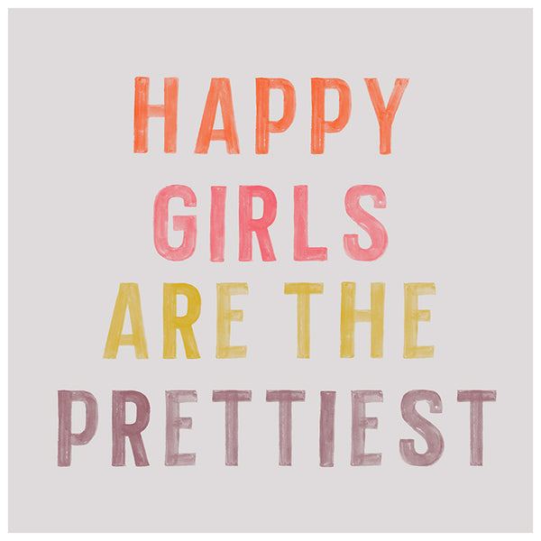 Happy Girls Typography Print