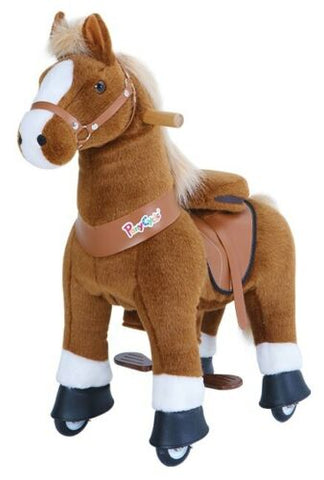 PonyCycle Unicorn UX Series Kids Manual Ride on Horse Small 3-5 Year Brown with White Hoof
