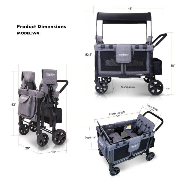 Wonderfold W4 Push Multi-Function 4-Passenger Quad Folding Stroller Wagon Gray & Black