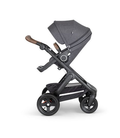 Stokke Trailz Black Chassis Stroller with Brown Handle
