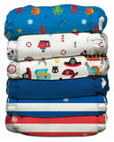 Charlie Banana Ocean Flair II Hybrid AIO Reusable Baby Diaper One Size -6 Per Pack
