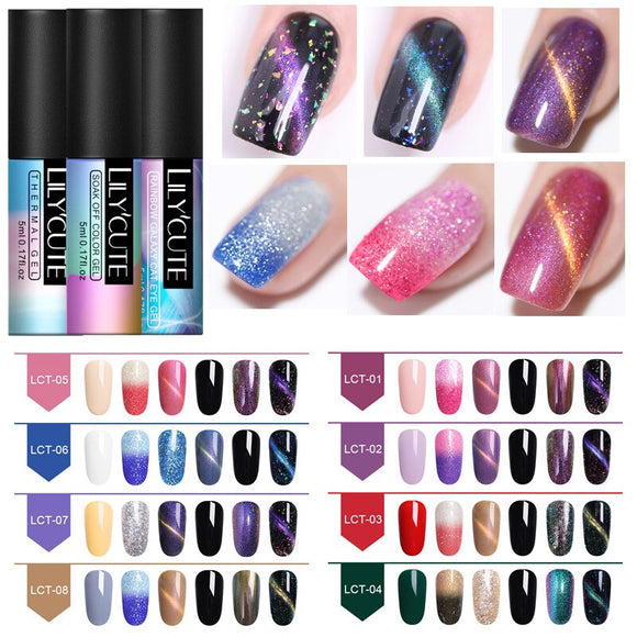 LILYCUTE 6Pcs/Lot Glitter UV Nail Gel Polish Set