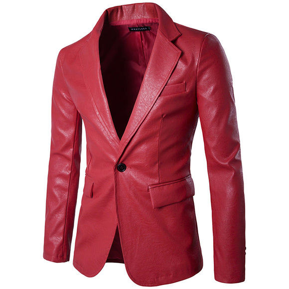 Red PU Leather Men Blazers