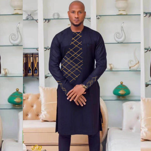 2018 african clothes africa men dashiki two 2 piece set embroidery