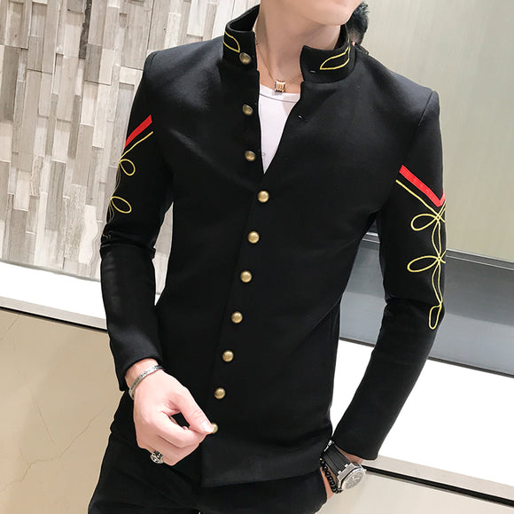 Slim Fit Mens Blazer Pattern Army Pilot Jacket Men Black Blue Red White Blazer