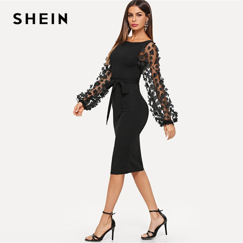 1da961b11af75 ... SHEIN Black Party Elegant Flower Applique Contrast Mesh Sleeve Form  Fitting Belted Solid Dress Autumn Women ...