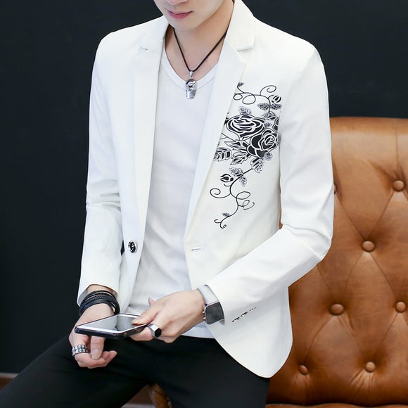 New Fashion Mens Flower Suit Jacket