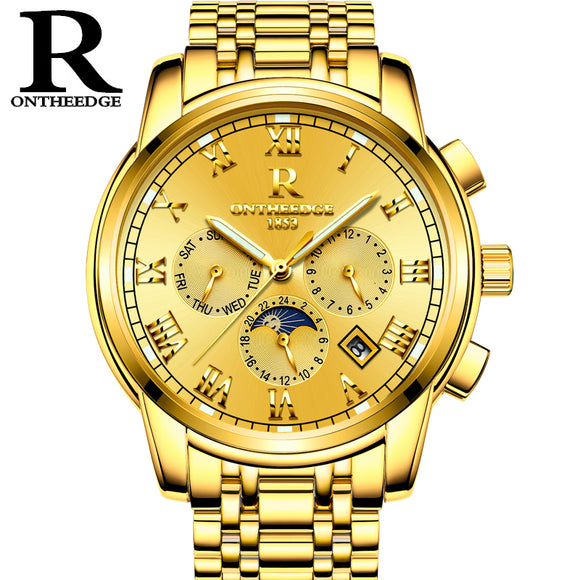 RONTHEEDGE Automatic Mechanical Men Watch Luxury Auto Calendar Moon Phase Watches Stainless Steel