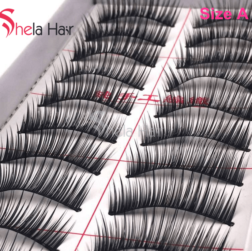 Shela Hair 1 Box of 10 Pairs False Eyelashes Handmade Full Strip Lashes Makeup