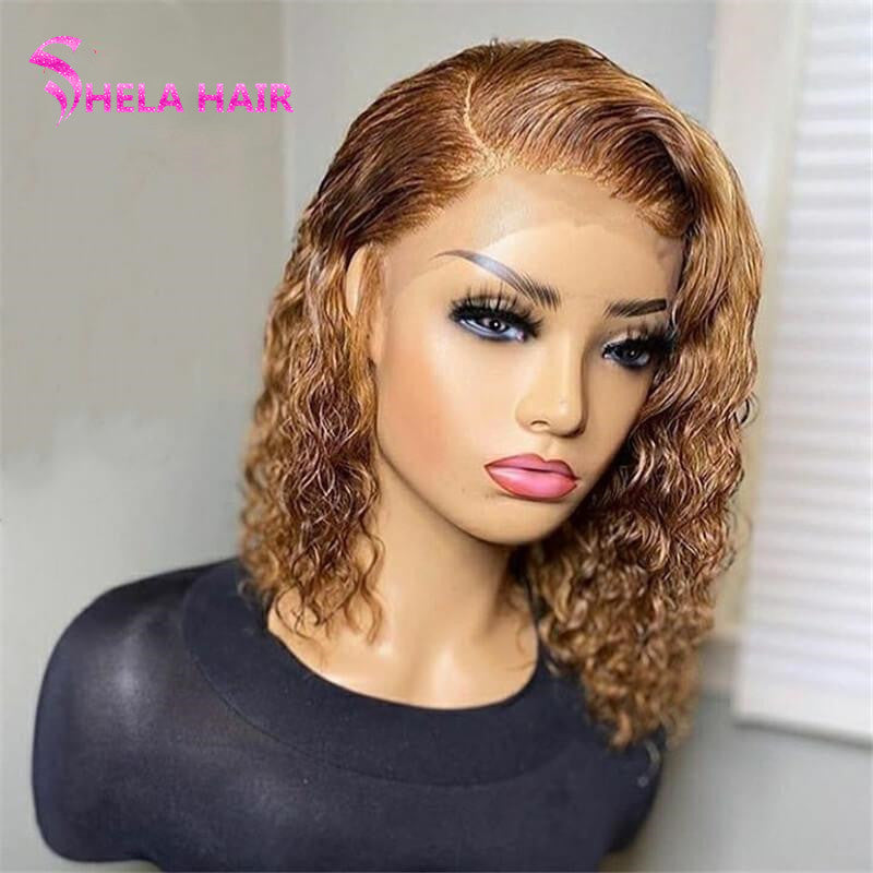 Honey Blonde Lace Closure/ Frontal Wig Natural Wave
