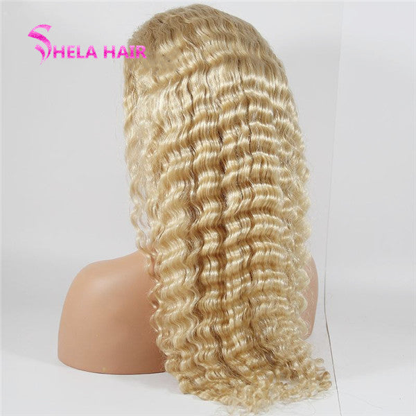 613 Blonde Lace Front Wig 150% Density Deep Wave Transparent Lace Wig