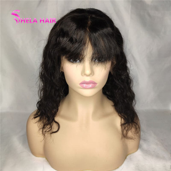 Wavy Bob With Bang Wig Lace Closure / Front Wig