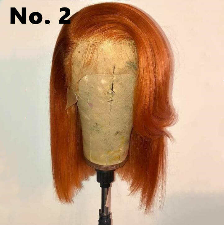 #33 Fall Color Bob Wig Transparent Lace Human Hair Wig