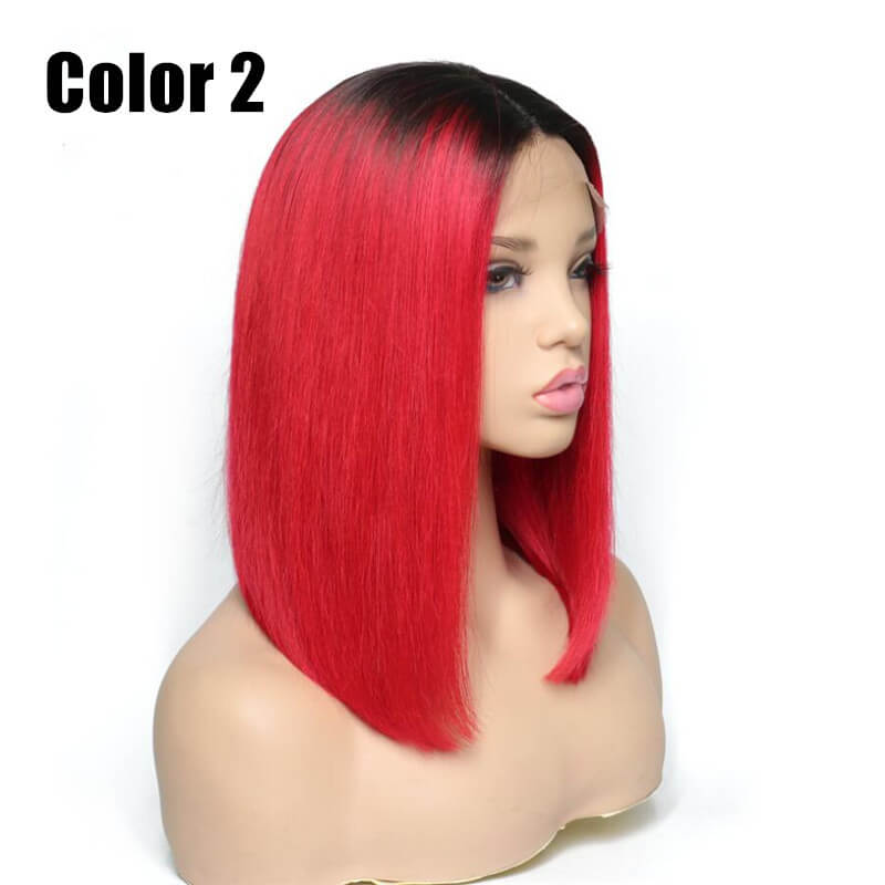 Red Color Bob Wig Transparent Lace Human Hair Wig