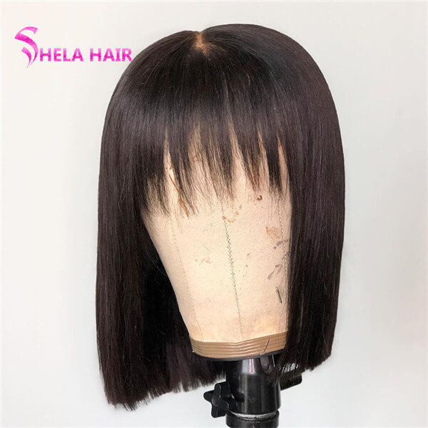 Bob With Bang Wig 4x4 Lace Closure Wig 10inch 180% Density