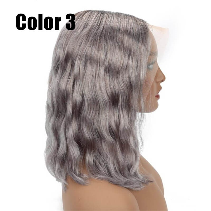Grey Silver Color Bob Wig Transparent Lace Human Hair Wig