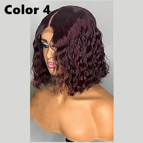#99J Burgundy Color Bob Wig Transparent Lace Human Hair Wig