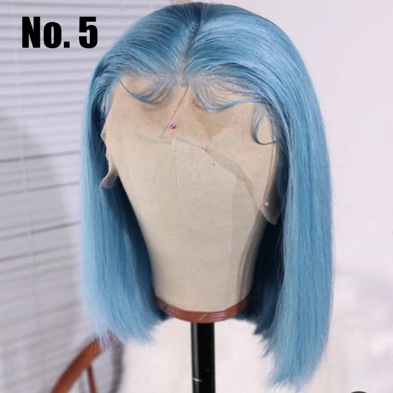 Blue Color Bob Wig Transparent Lace Human Hair Wig