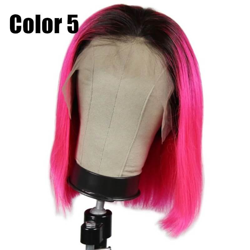 Pink Color Bob Wig Transparent Lace Human Hair Wig