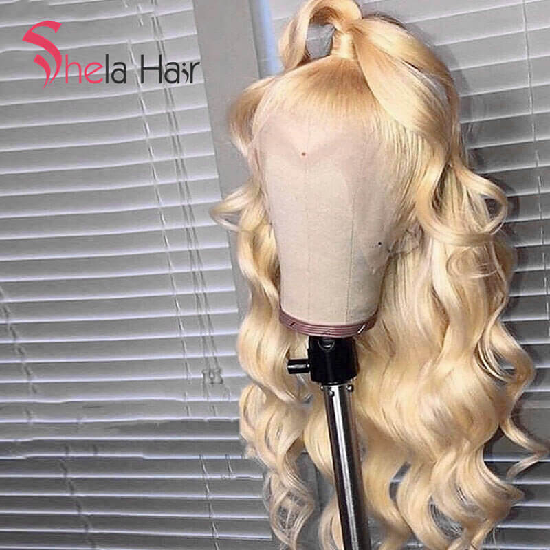 High Density Transparent Full Lace Wig #613 Blonde 180% 200% Loose Wave Shela Hair