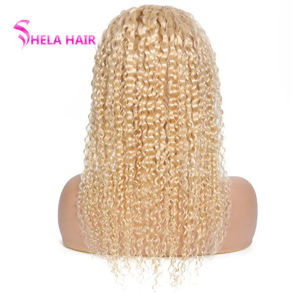 Transparent 360 Wig, Can do bun, ponytail, #613 Blonde Jerry Curly 180% 200% High Density