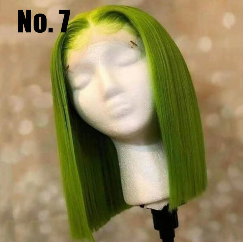 Green Color Bob Wig Transparent Lace Human Hair Wig