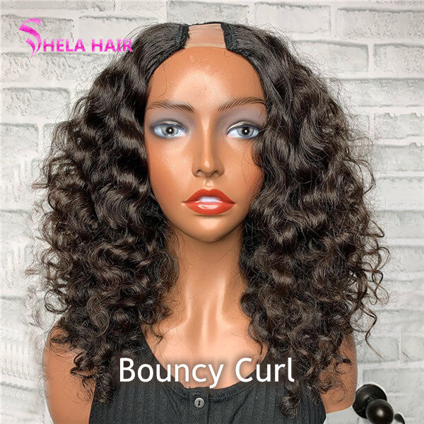 U Part Wig Bouncy Curl Virgin Hair 8-26inch