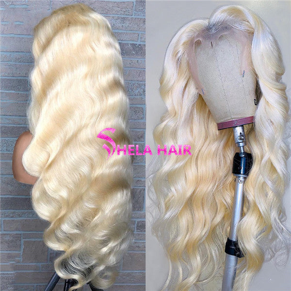 Transparent Lace Full 360 Wig, Can do bun, ponytail, High Density 180% 200%, #613 Blonde Body Wave
