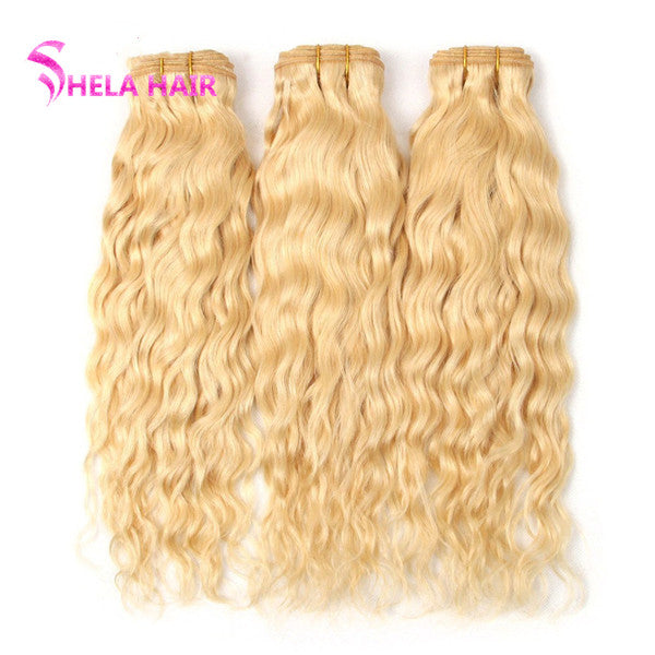 Natural Wave#613 Blonde Color Bundles Human Hair Weave