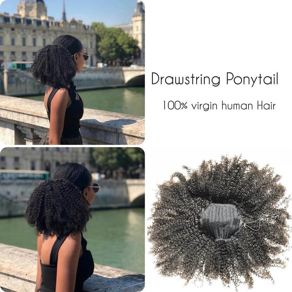 Pony Tail Drawstring Afro Kinky Curly Ponytail Human Hair For African American