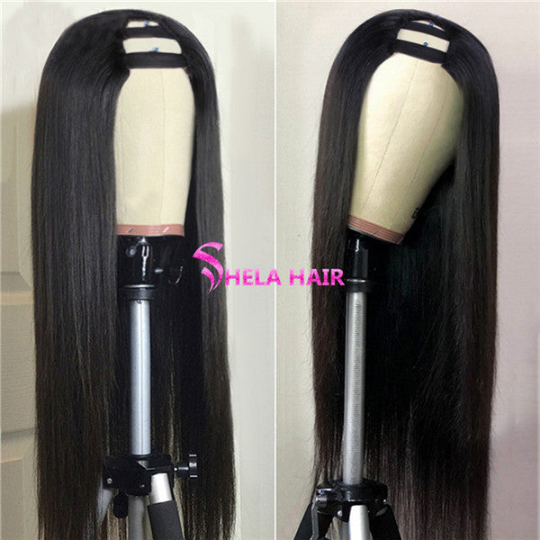 U Part Wig Straight Human Hair High Density 180% 220% Wig