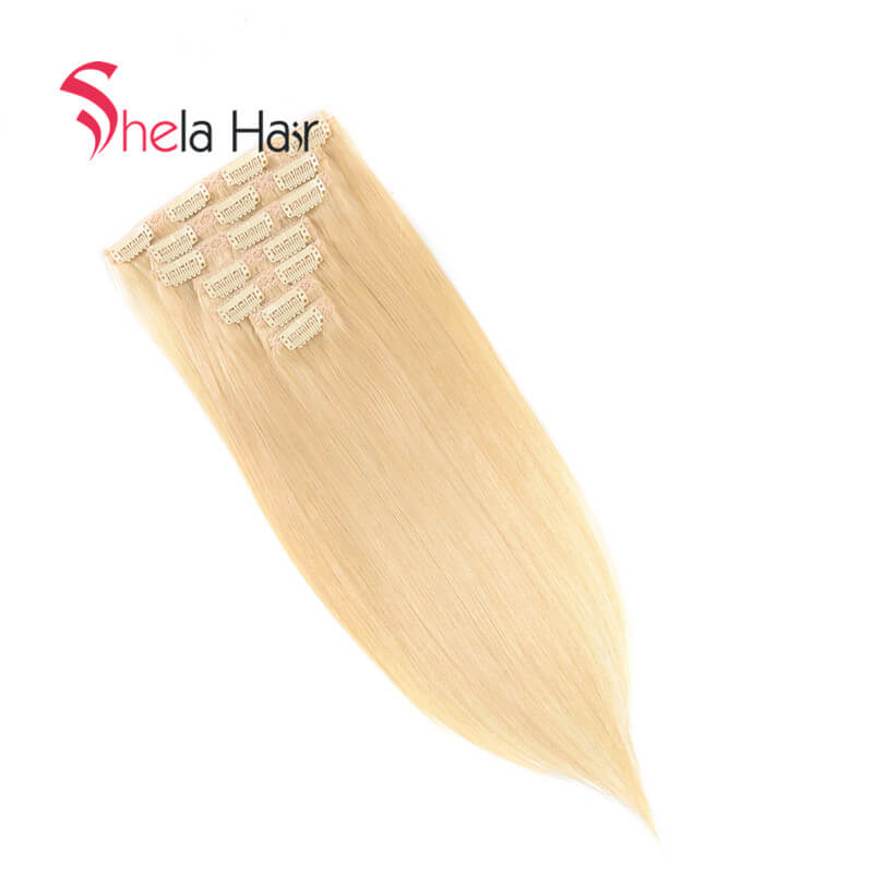 Blonde Clip In Human Hair Extensions Straight 7 Pieces/Set Free Shipping