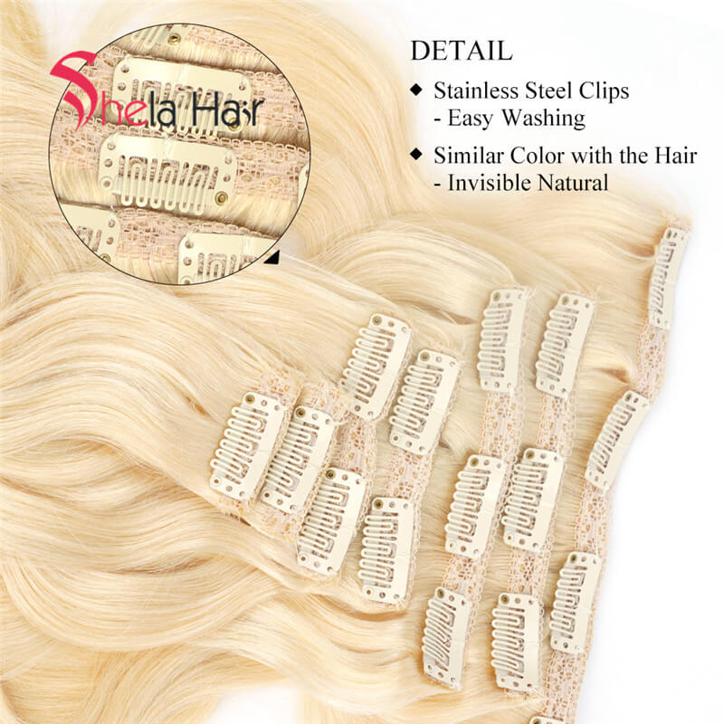Blonde Clip In Human Hair Extensions Wavy 7 Pieces/Set