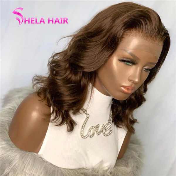 Brown Loose Wave Bob Cut Lace Front Wig / Full Lace Wig Shelahair