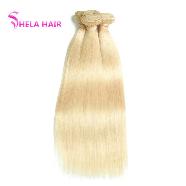 Shela hair 3/4 Bundles #613 Blonde Color Straight Human Hair