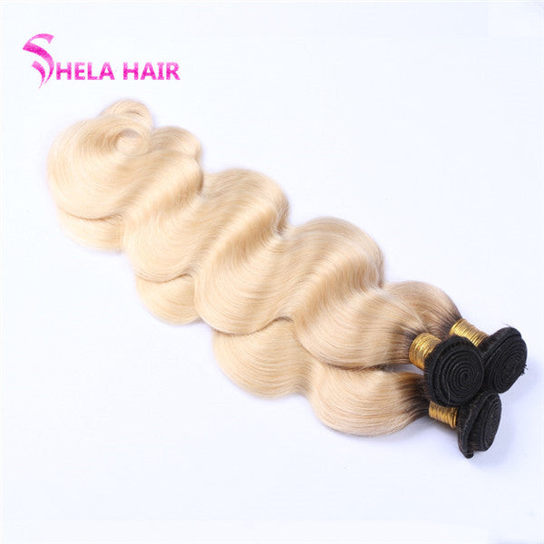 #613 Blonde Color Bundles Black Root Body Wave Ombre Human Hair Weave