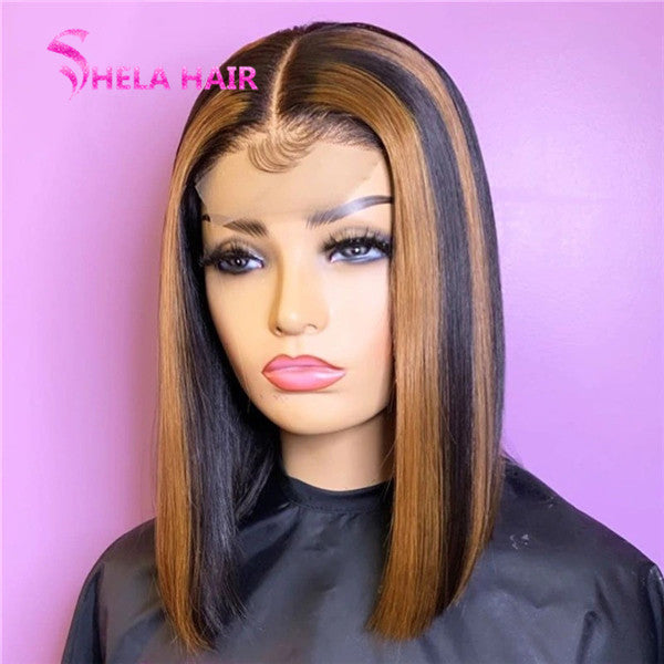 Middle Part Highlight Black with Brown Colorful Bob Wig Striaght