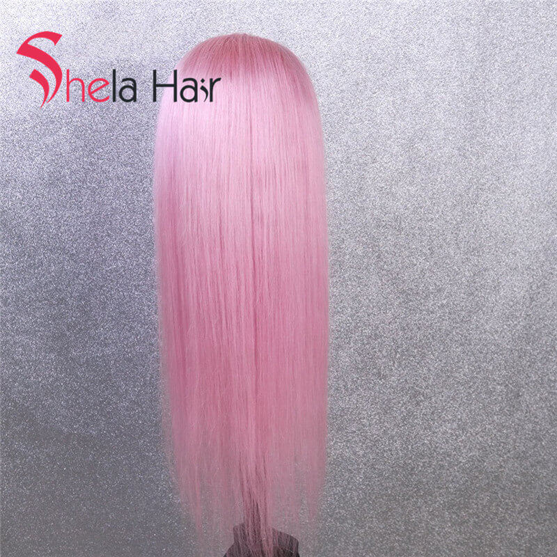 Bright Pink colorful Lace Front Wigs Straight Shela Hair