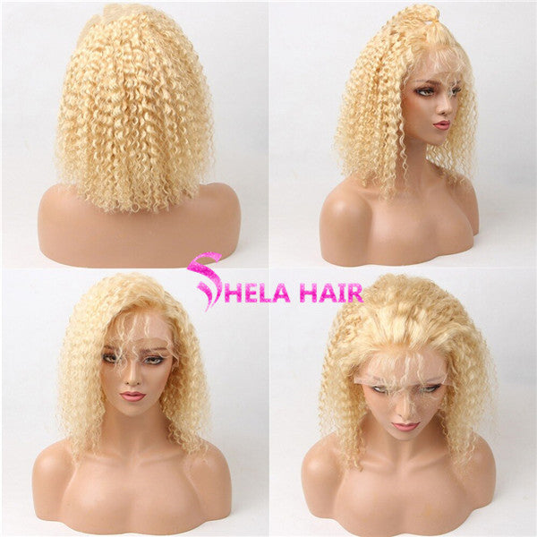 Curly Bob Wig #613 Blonde Transparent Lace Front Wigs Shela Hair