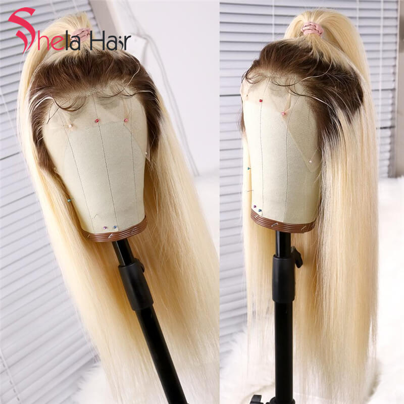 4/613 Transparent Full Lace Wig Blonde 180% 200% High Density Straight